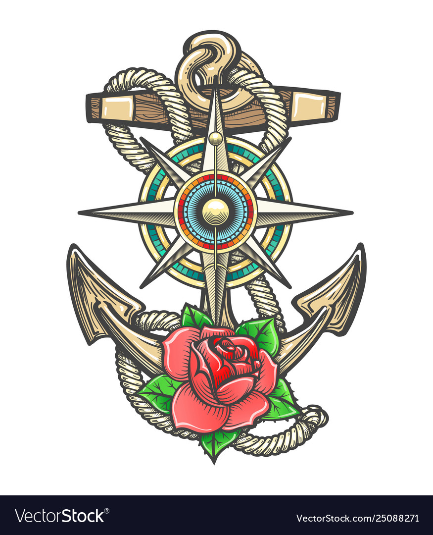 Anchor with compass windrose and rose flower