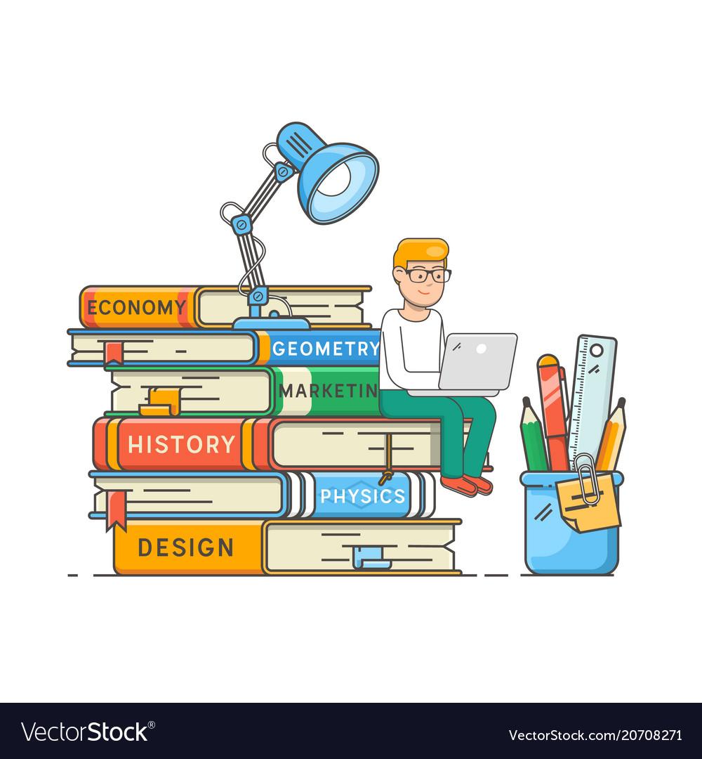 Book readers club self education concept boy vector image