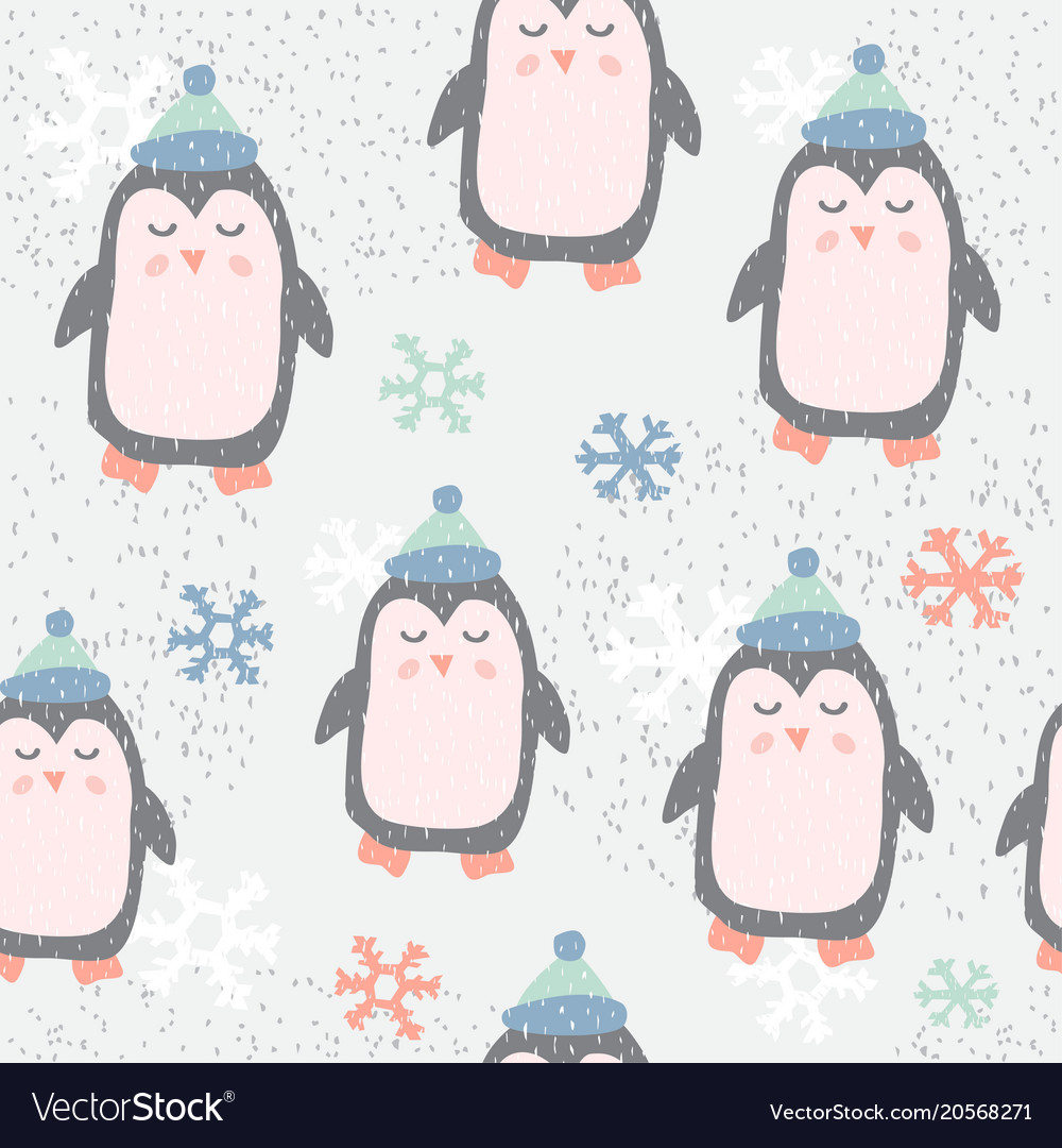 Childish seamless pattern with cute penguin