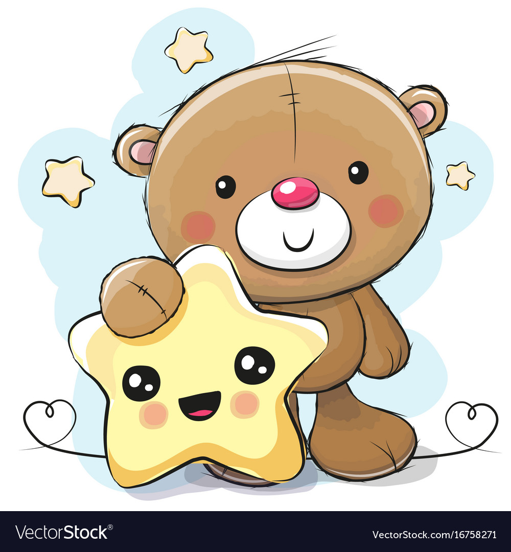 cute cartoon teddy bear with star royalty free vector image