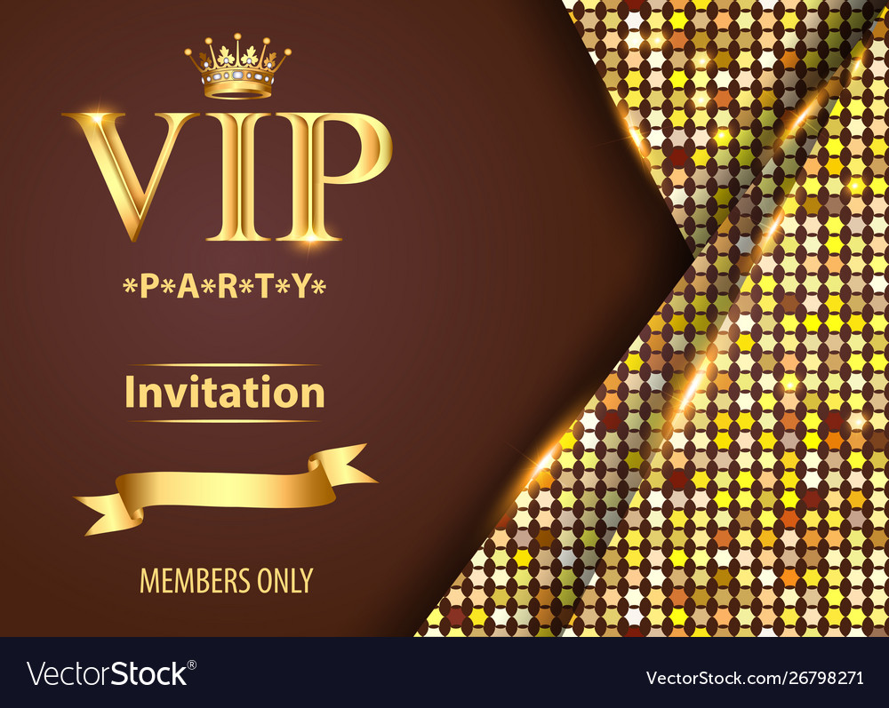 Design invitations to vip party gold