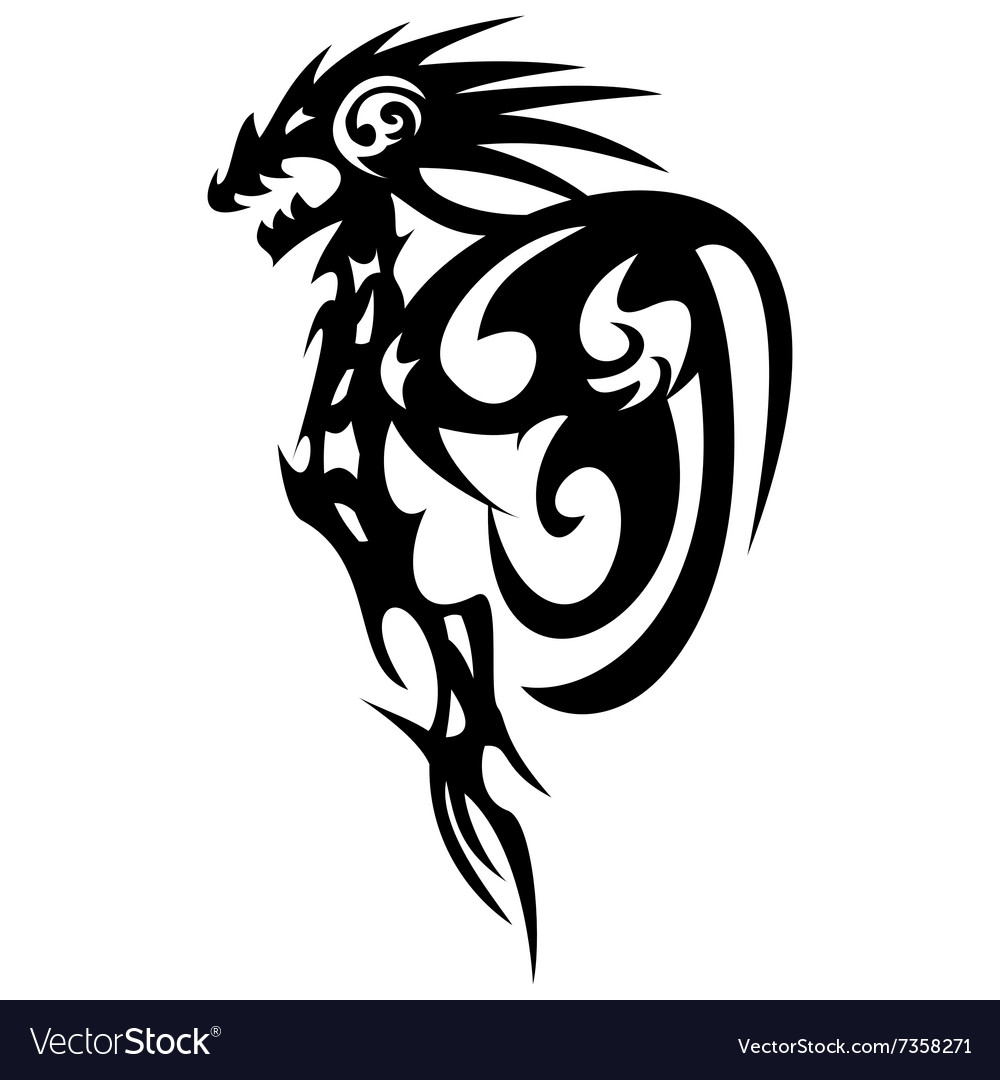 Dragon Tattoo Design Vintage Royalty Free Vector Image