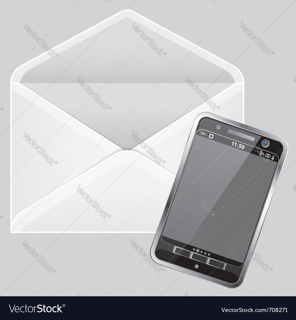 Envelope and smartphone vector image