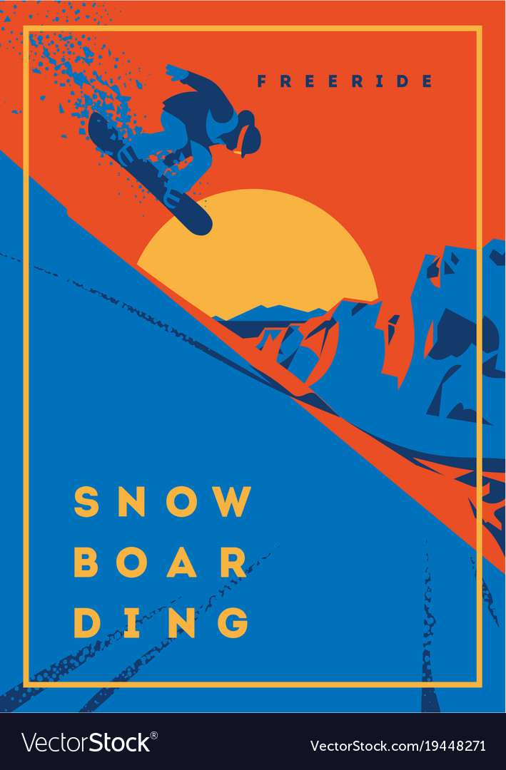 Freeride snowboarder in motion sport poster or