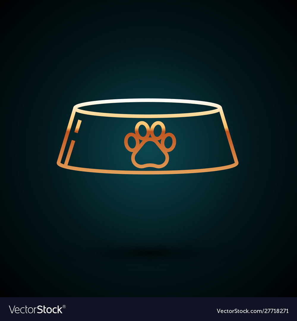 Gold line pet food bowl for cat or dog icon
