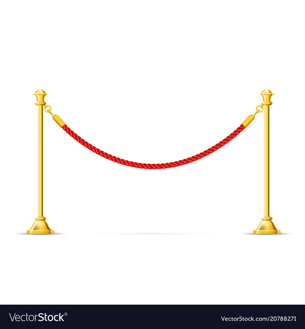 Golden barricade with red rope - barrier rope vip