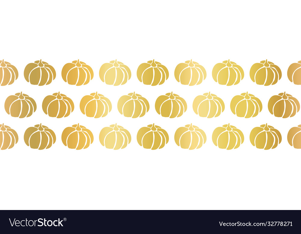 Golden pumpkins seamless border repeating