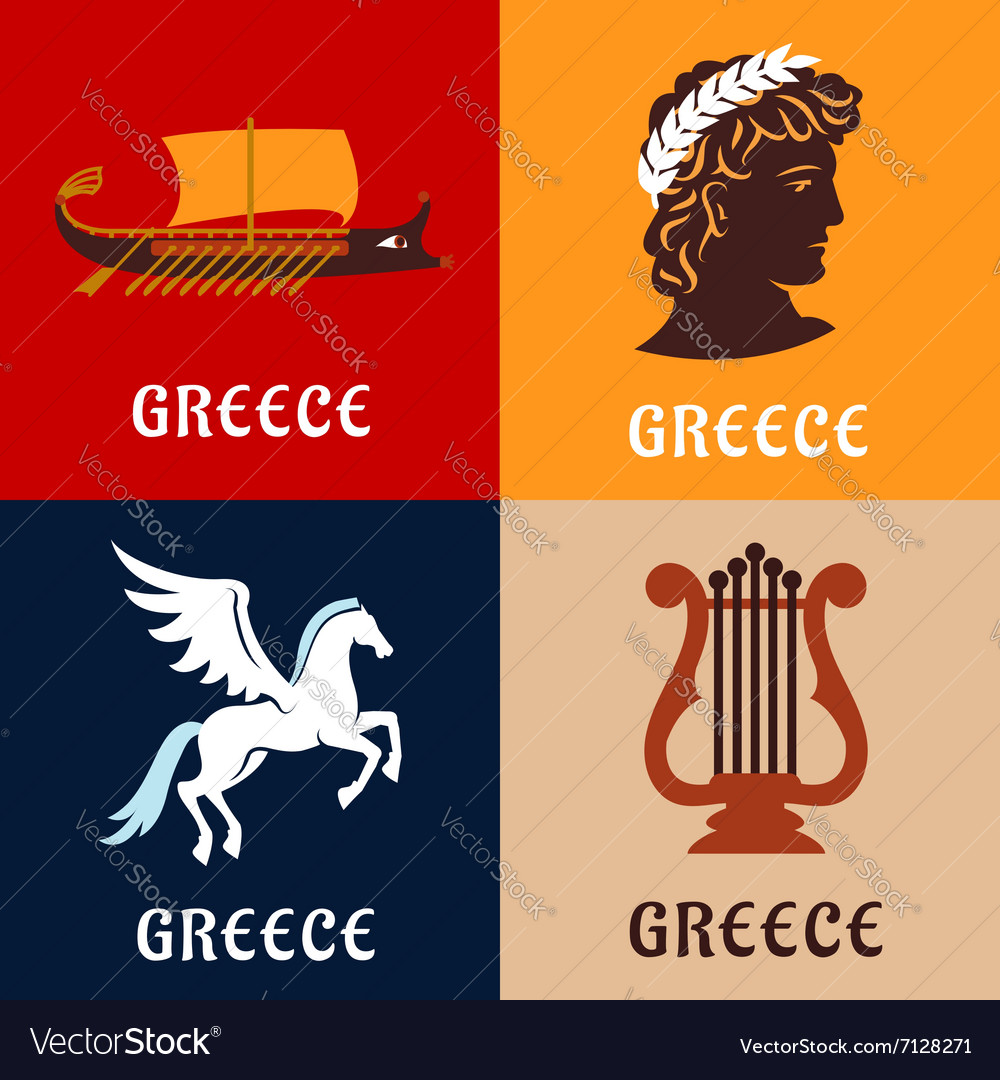 Greece culture history and mythology icons