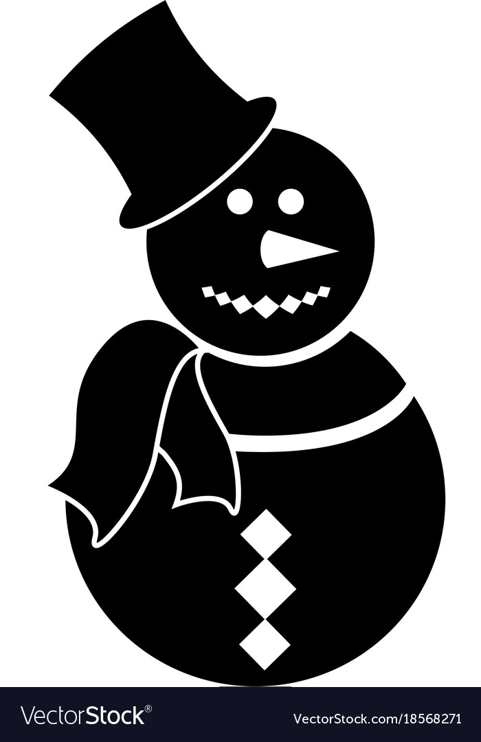 isolated snowman silhouette royalty free vector image vectorstock