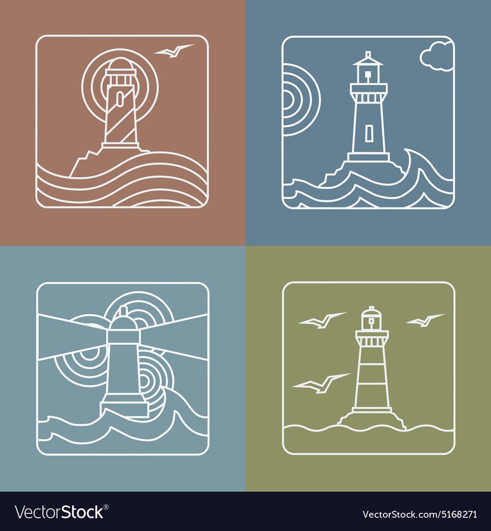 Lighthouse logo design templates - linear