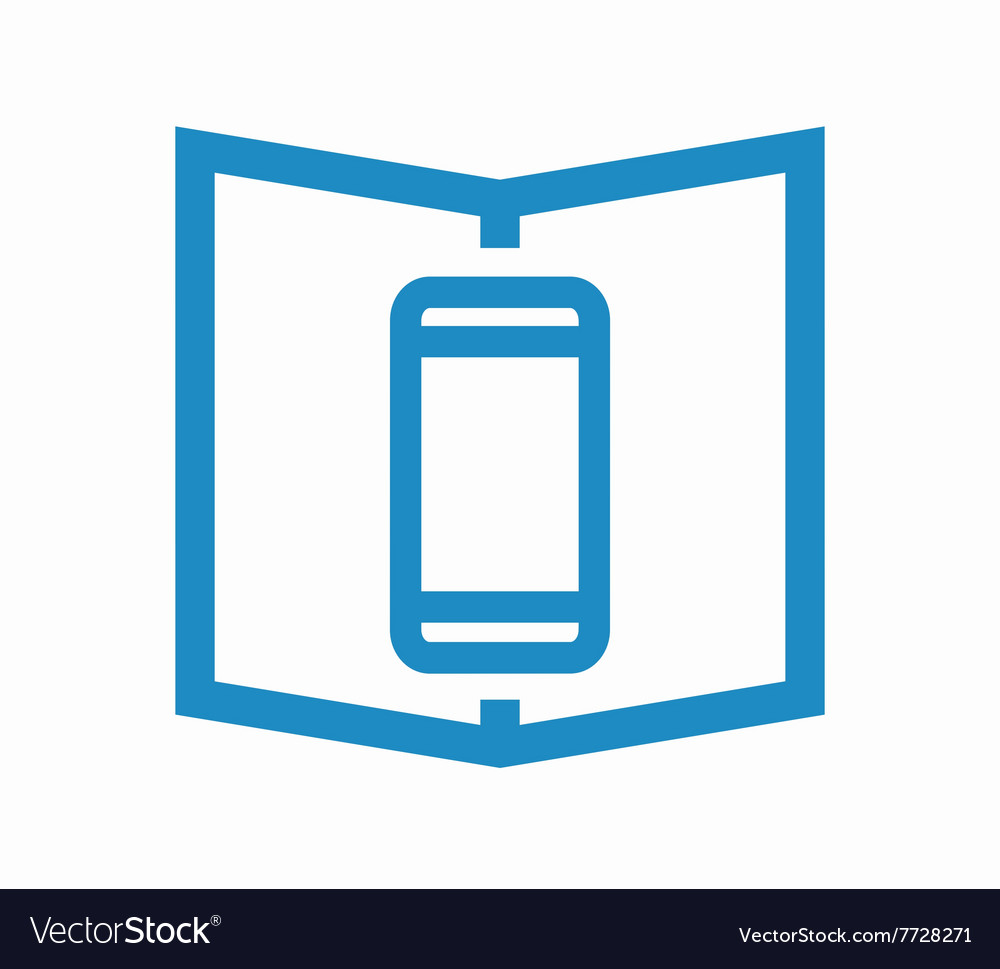 Logo combination of a book and phone