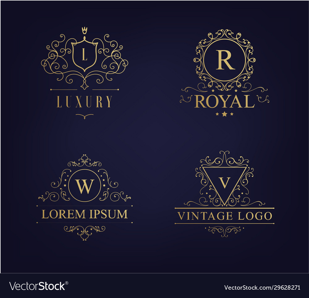 Luxury logo set with heraldic crests and