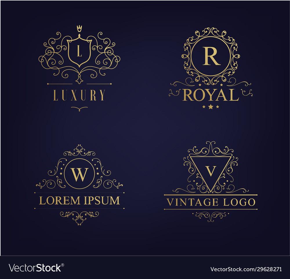 Luxury logo set with heraldic crests
