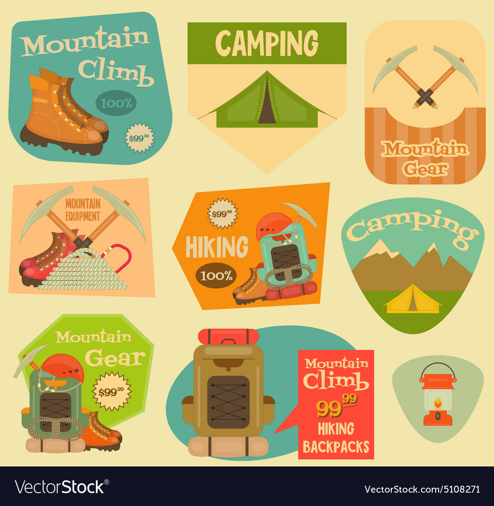 mountain climbing stickers royalty free vector image