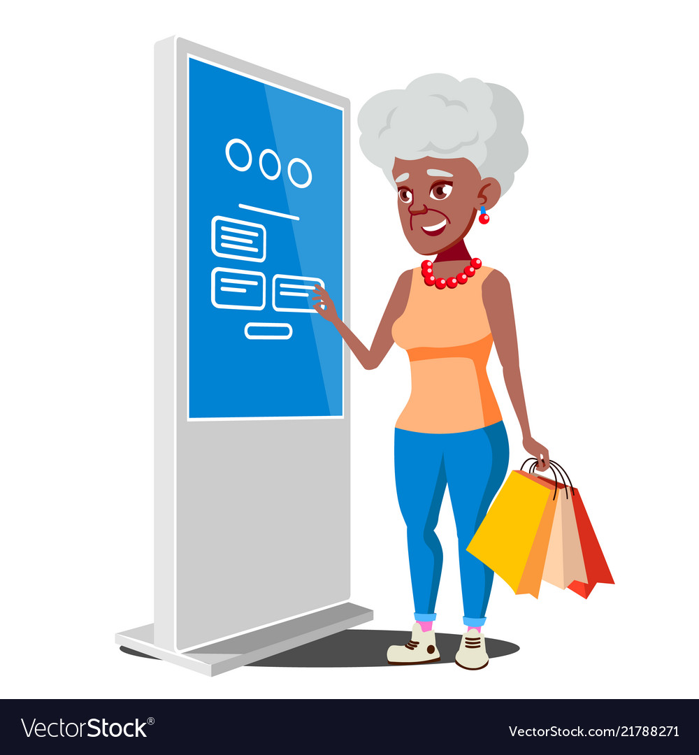 Old woman using atm digital terminal