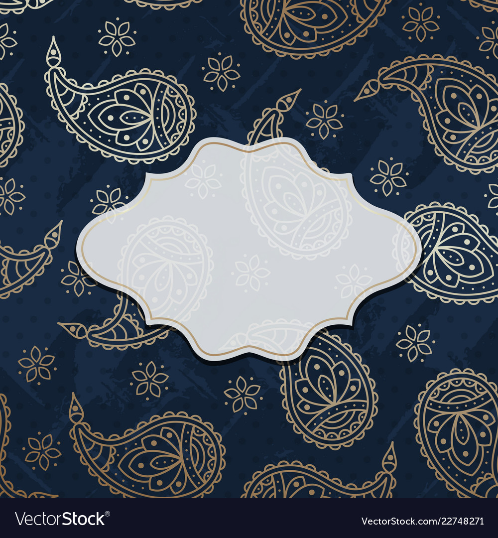 Paisley textured background with a frame