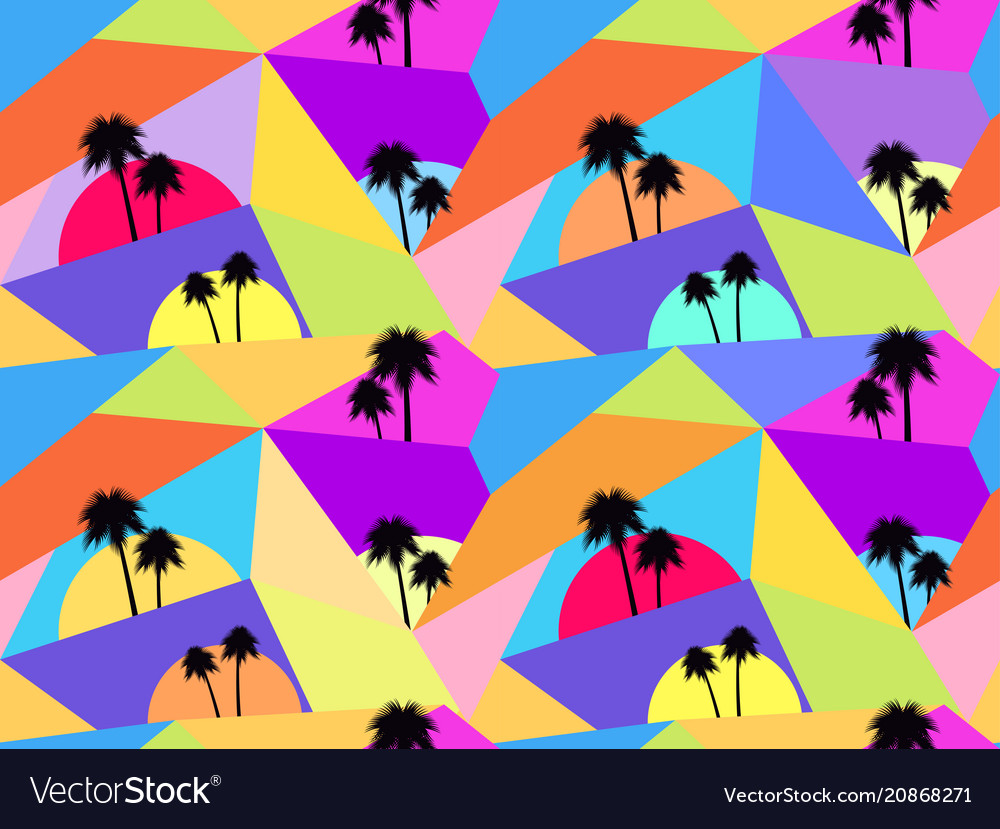 Palm trees seamless pattern avant-garde style vector image