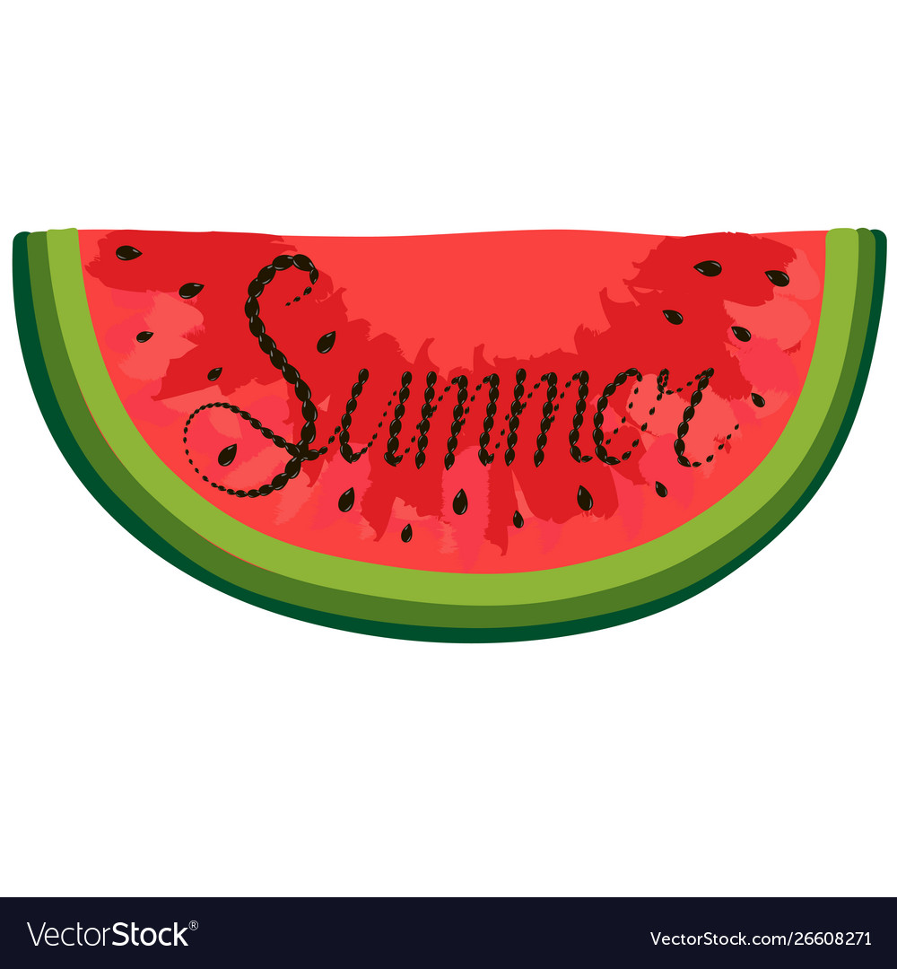 Poster with red watercolor watermelon lettering