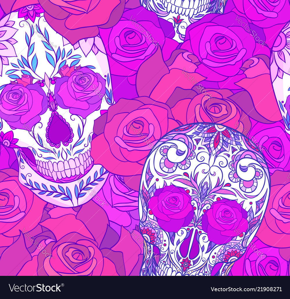 Seamless neon texture with sugar skulls and roses