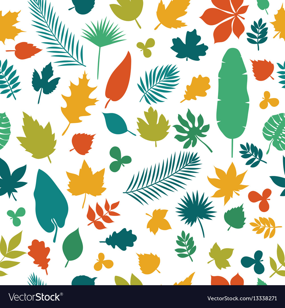 Seamless pattern with colored leaves autumn