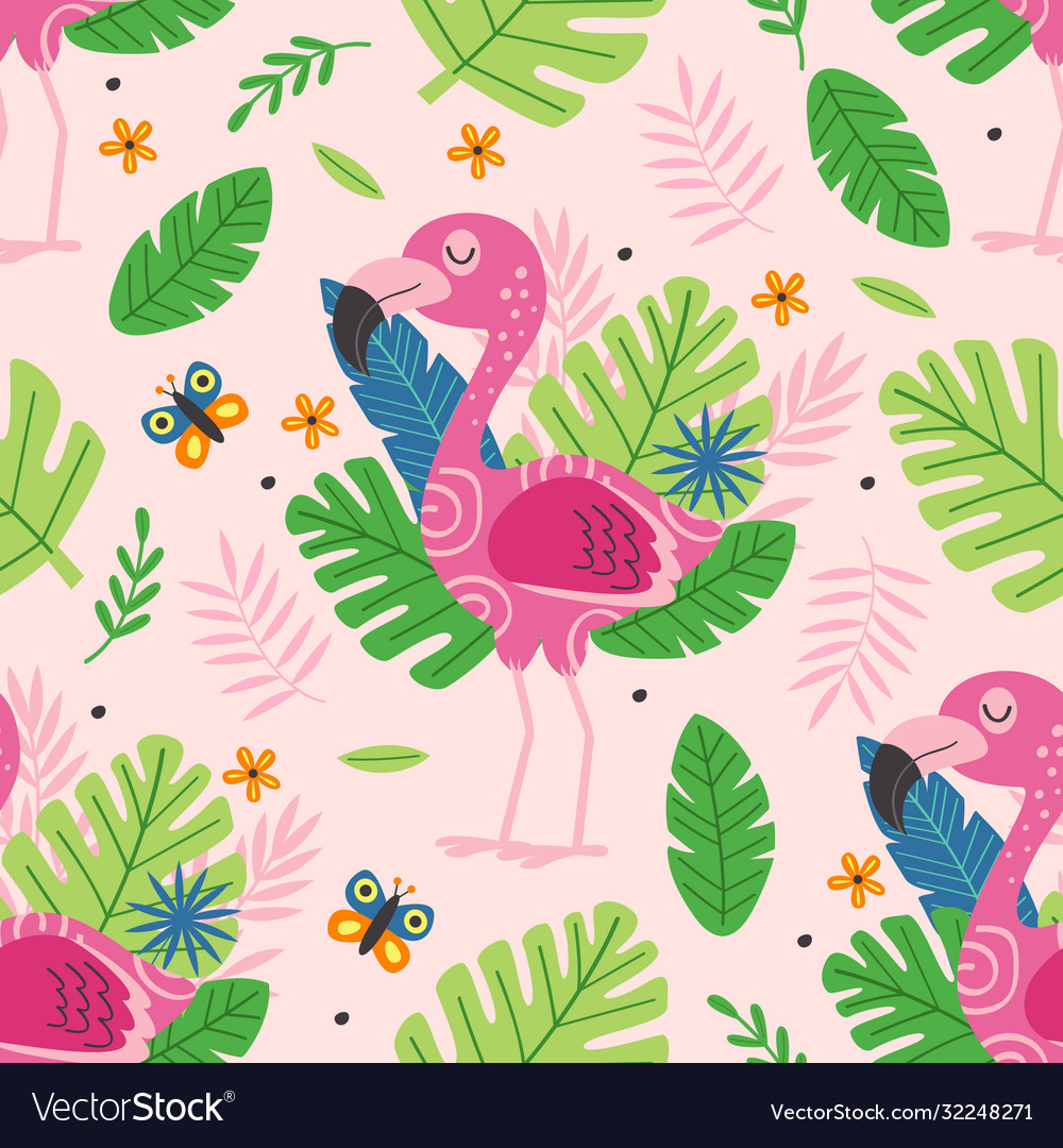 Seamless pattern with cute pink flamingo