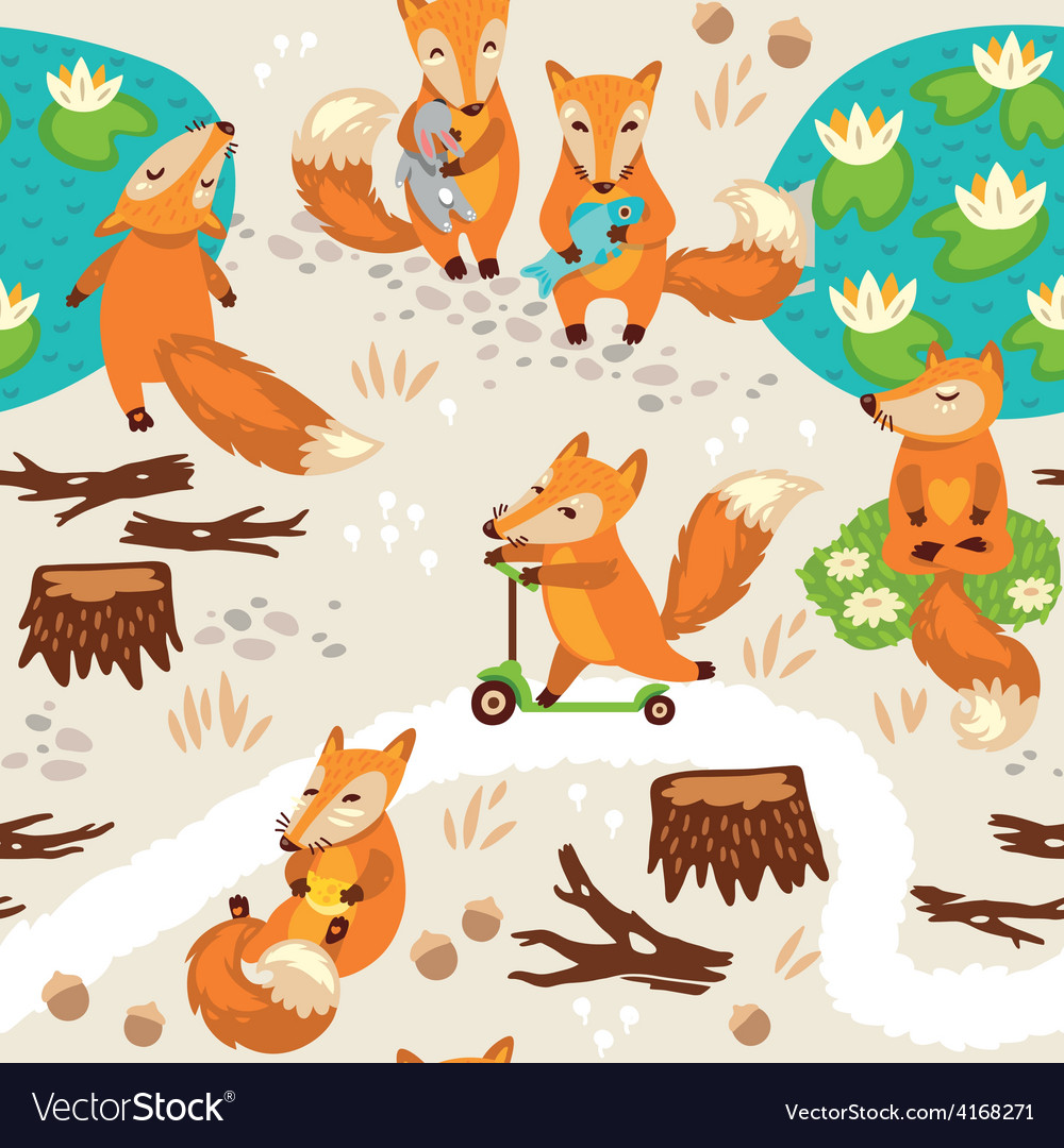 Seamless pattern with little cute foxes Cartoon