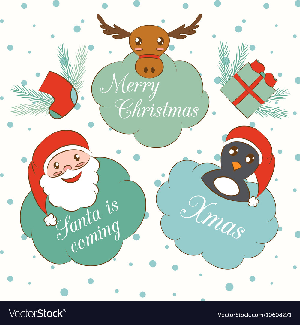 Set of cute cartoon Christmas and New Year