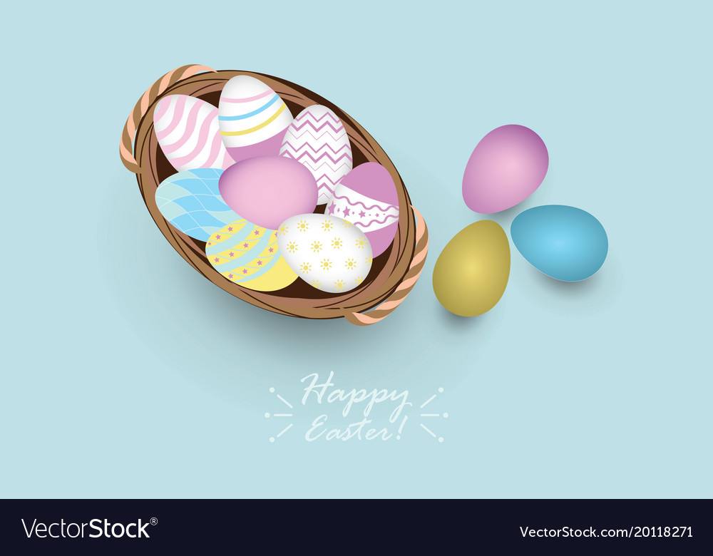 Top view of colored easter eggs in basket