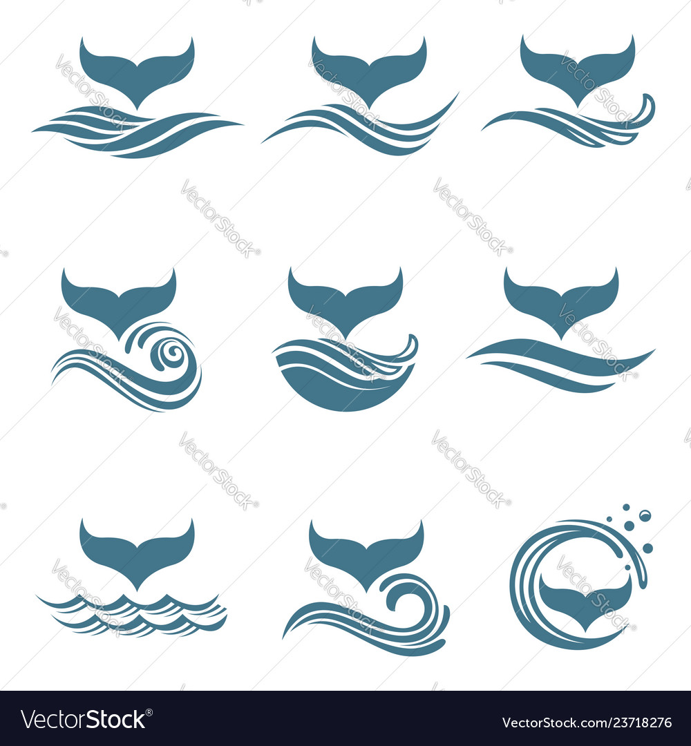 Abstract whale tail icons set