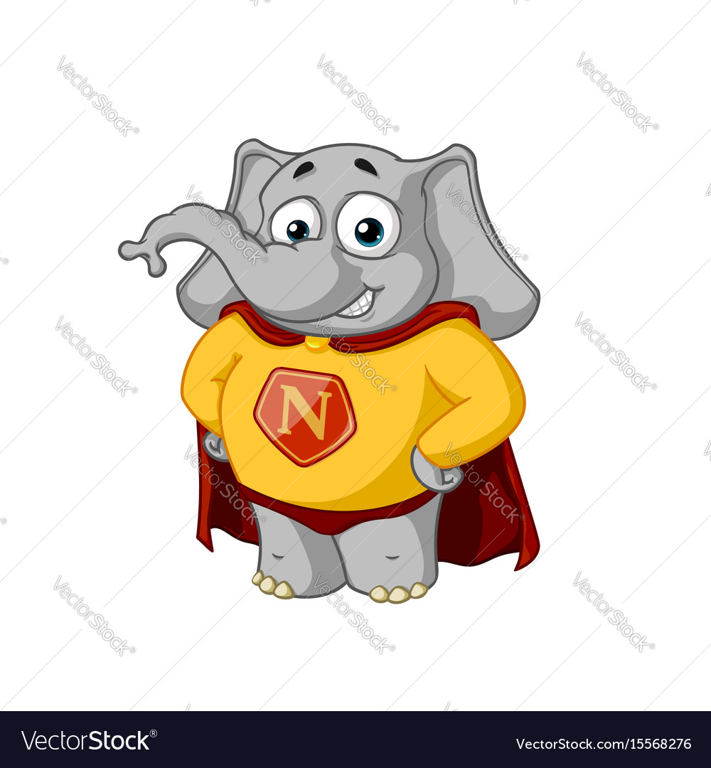 Elephant character a superhero in a red cloak vector image