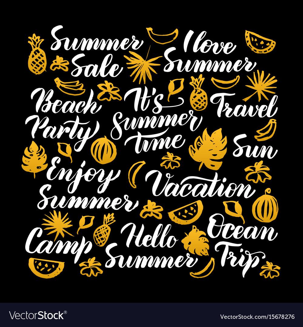 Hello summer calligraphy design