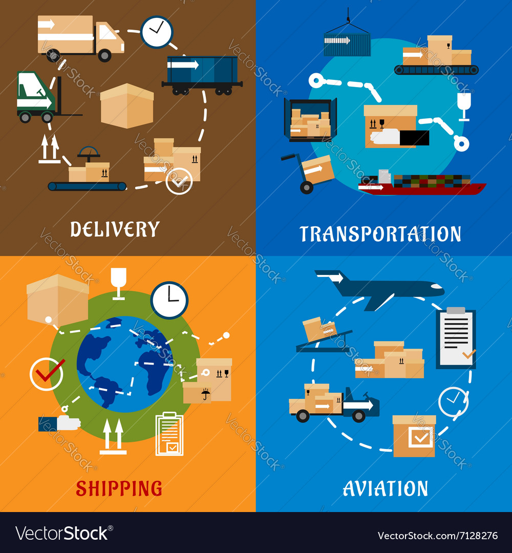 International delivery and logistic flat icons vector image
