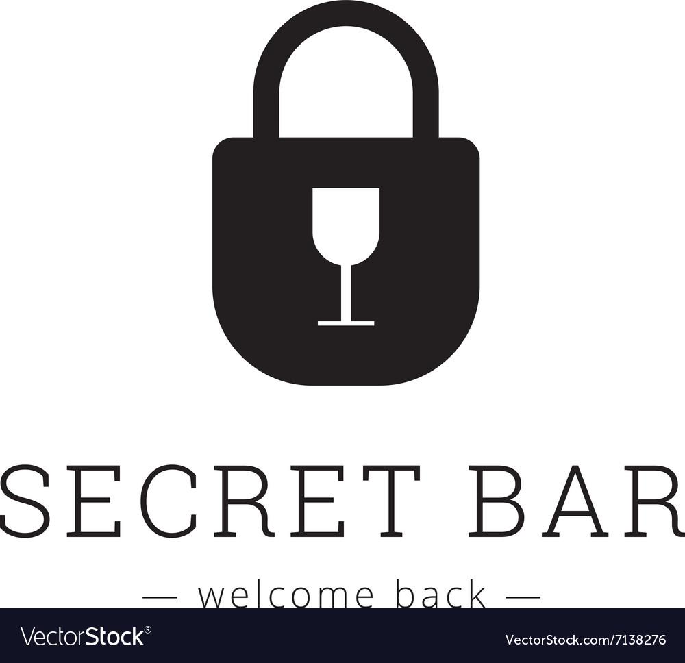 Minimalistic secret bar logo with little