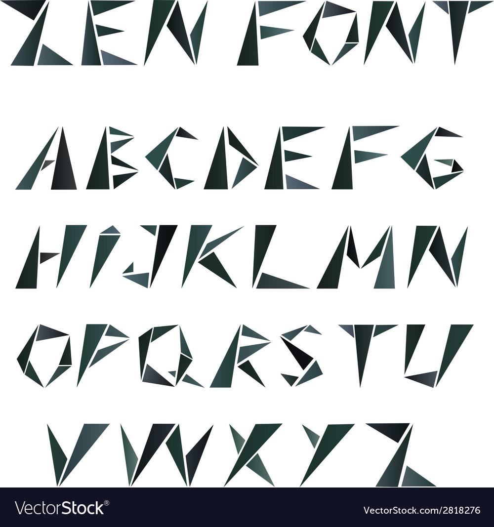 Alphabet Style mosaic triangular alphabet in zen style royalty free vector