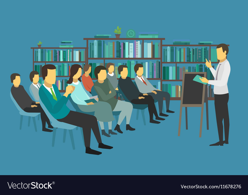 People sit in a room and listen speech speaker vector image