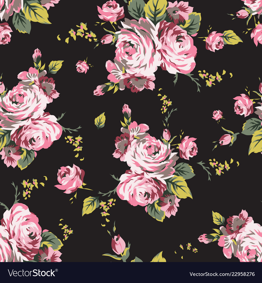 Shabchic vintage roses seamless pattern