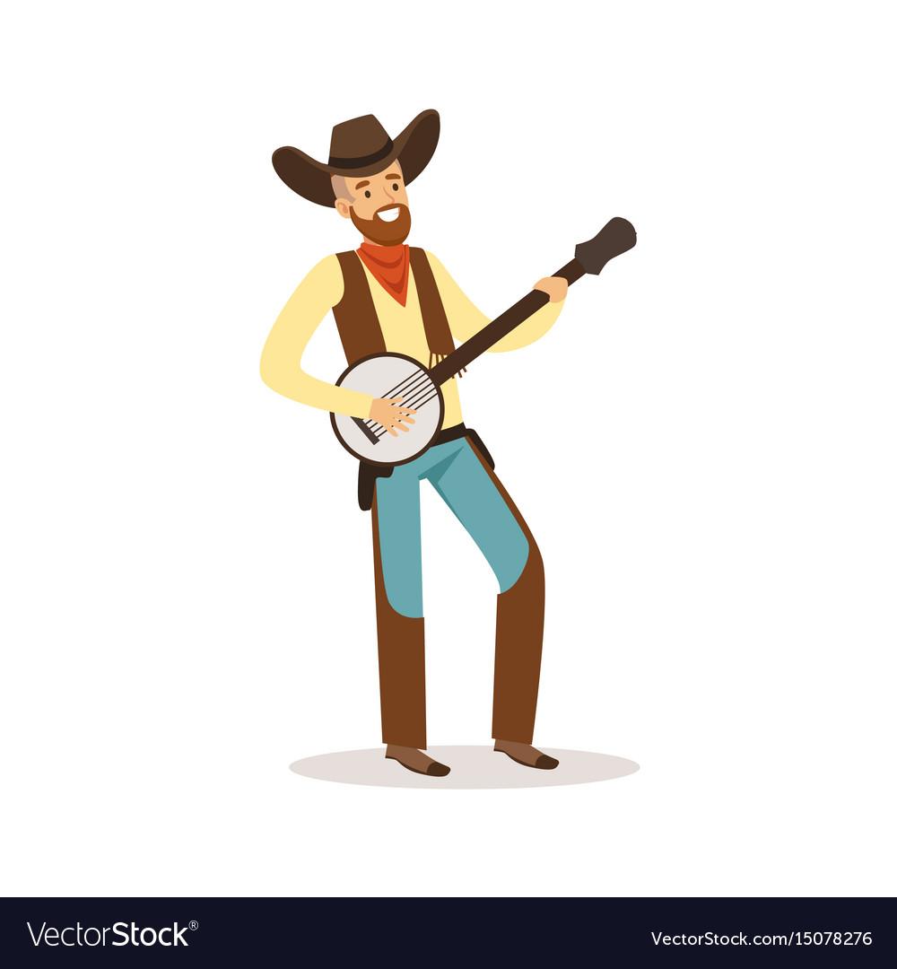 Smiling cowboy playing banjo western cartoon