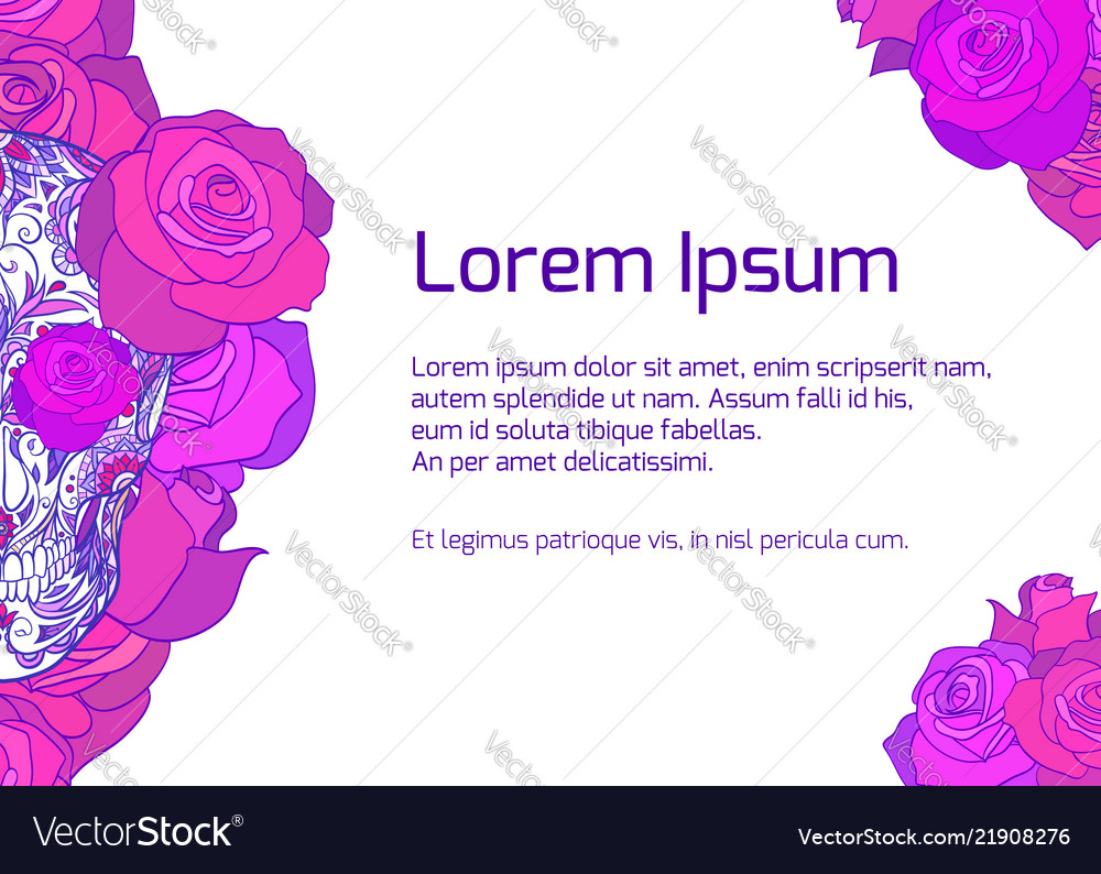 template with neon sugar skull with roses an vector image