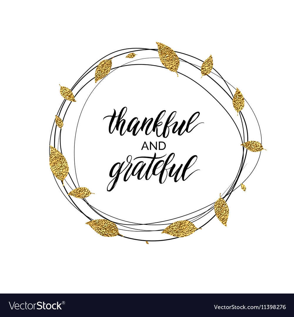 Thankful and grateful text in autumn gold wreath