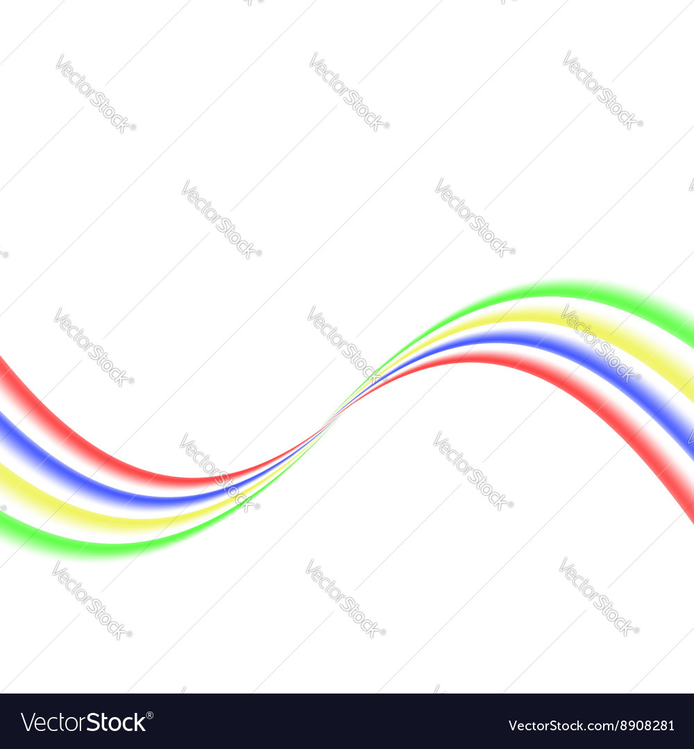 Abstract colored curved lines on a white