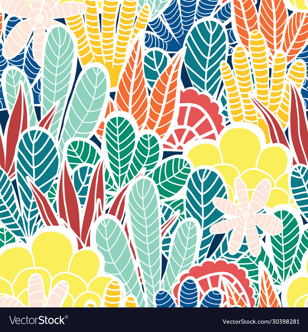 Abstract plants collage seamless background
