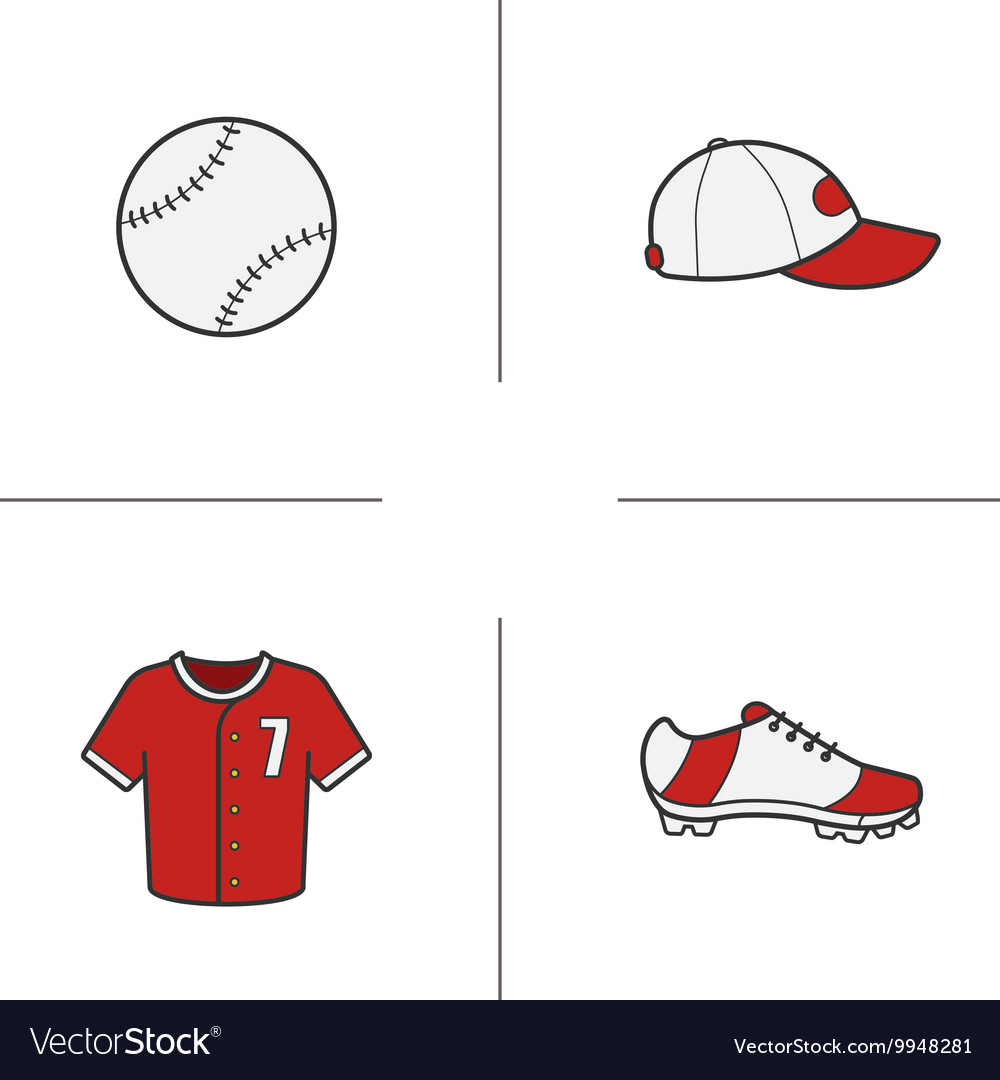 Baseball accessories icons