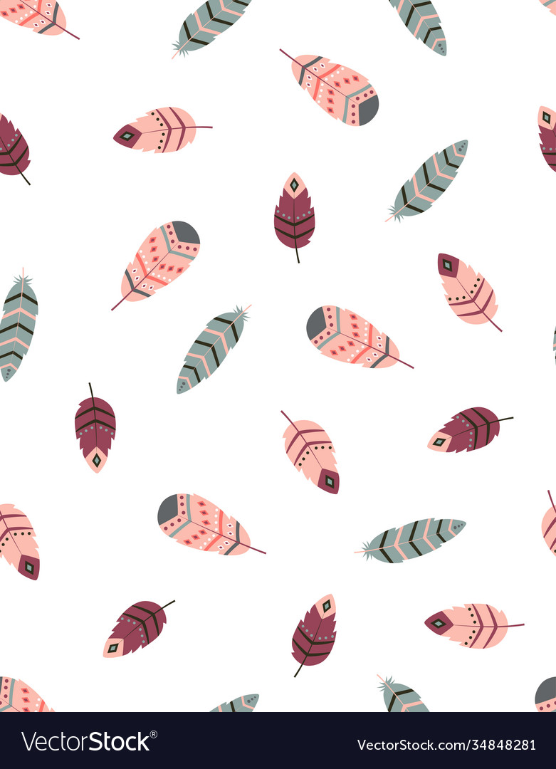 Boho seamless pattern with feathers