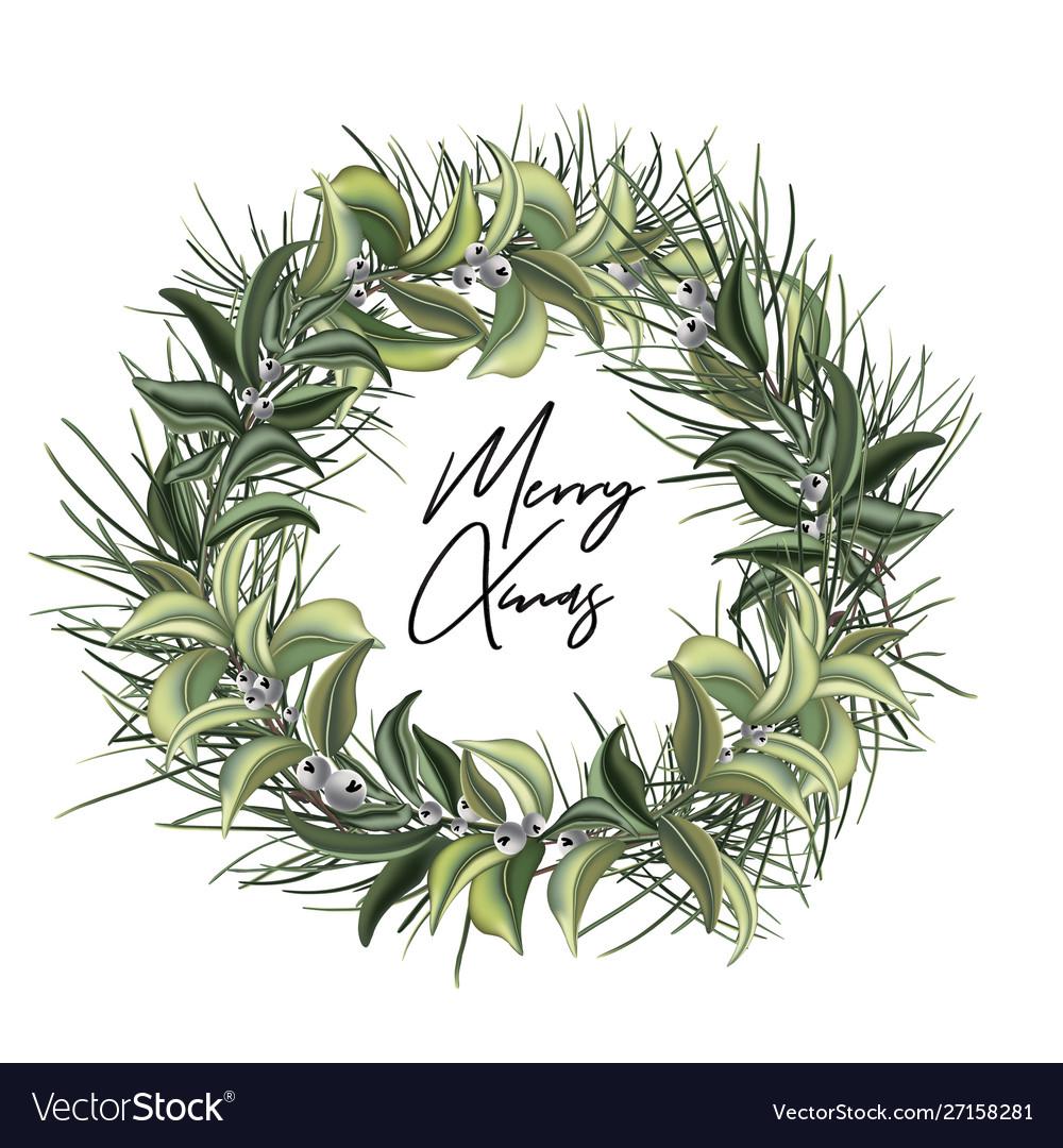 Christmas door wreath with evergreen tree decor