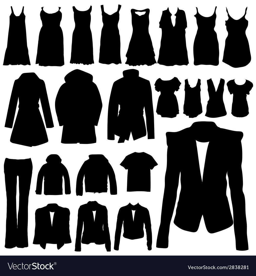 Clothing in black silhouette vector image