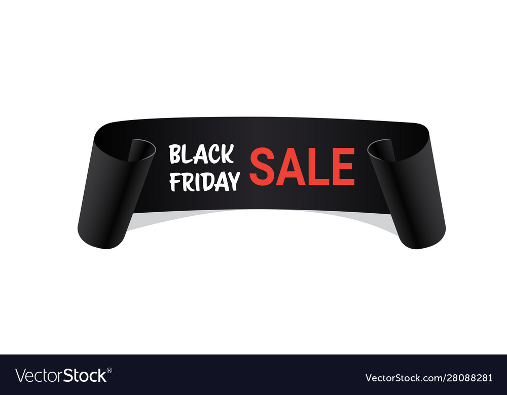 Curved bannerblack friday sale concept ribbon