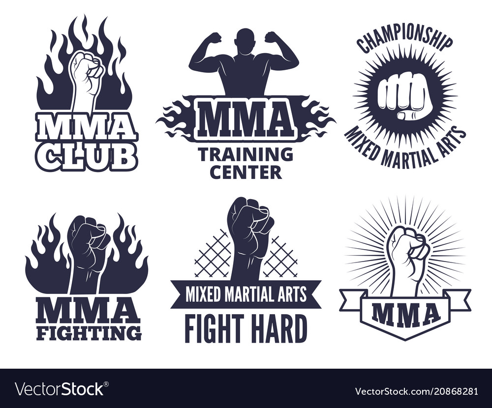 Design template of sport martial labels for mma