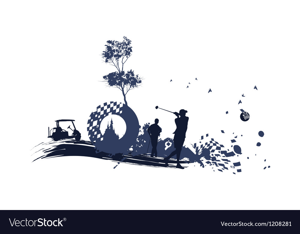 Different Golf Silhouettes Royalty Free Vector Image