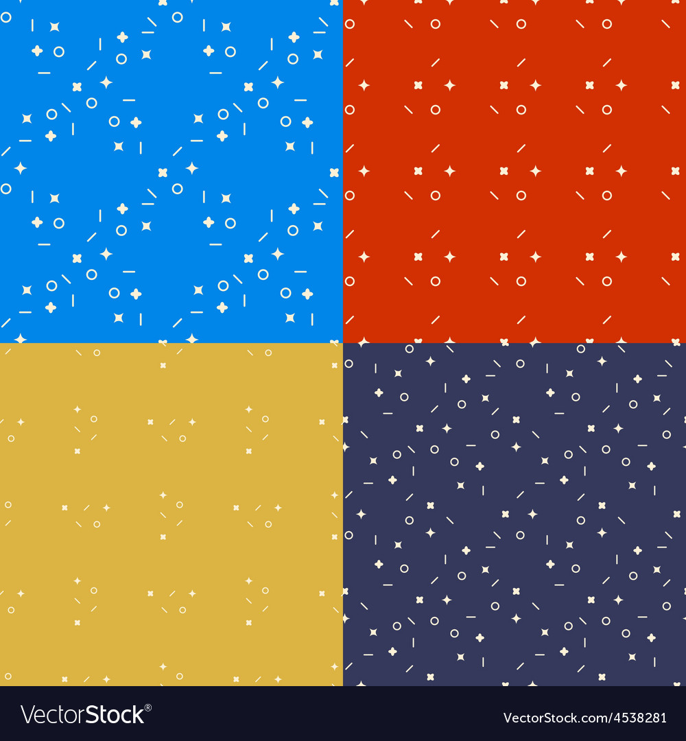 Geometrical seamless patterns set Lines circles