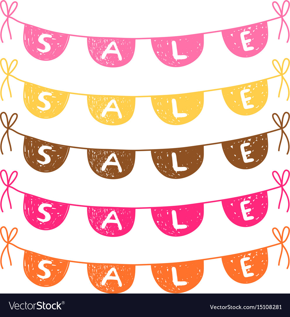 Hand drawn bunting with sale text